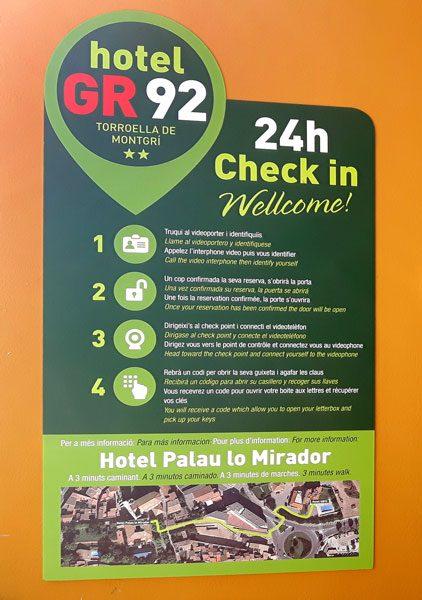 Check in Hotel GR 92